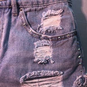Short rhinestone jean shorts